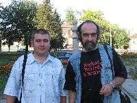 На снимке Кирилл Захаров и  патриарх отечественной рок-журналистики Анатолий